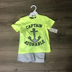 "Other - Carter's 2 piece Short Set ""Captain Adorable"" 2T"
